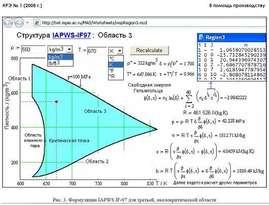 Формуляция IAPWS IF-97 для третьей околокритической области