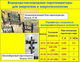 Водородно-кислородные парогенераторы для энергетики и энерготехнологии